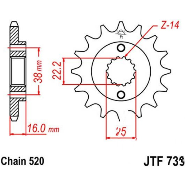 Front sprocket 15tooth pitch 520 JTF73615