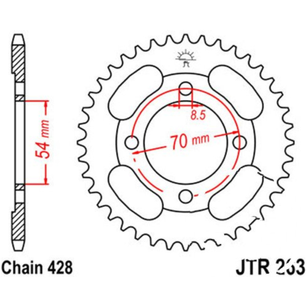 Rear sprocket 34tooth pitch 428 JTR26334