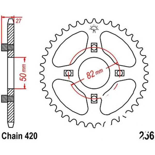 Rear sprocket 33tooth pitch 420