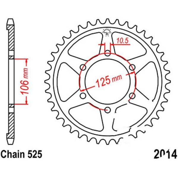 Rear sprocket 47 tooth pitch 525 JTR201447