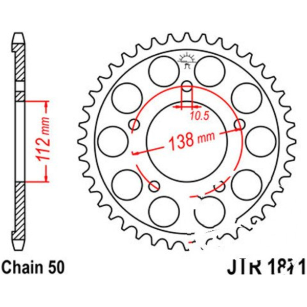 Rear sprocket 50tooth pitch 530
