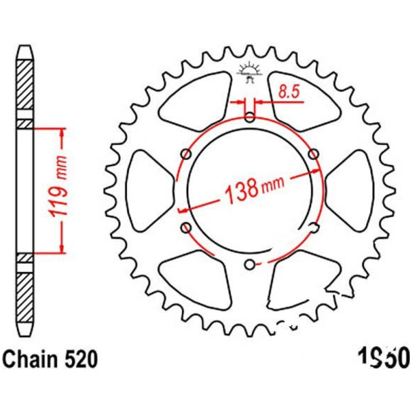Rear sprocket 48tooth pitch 520