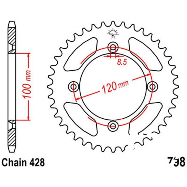 Rear sprocket 50tooth pitch 428 JTR79850