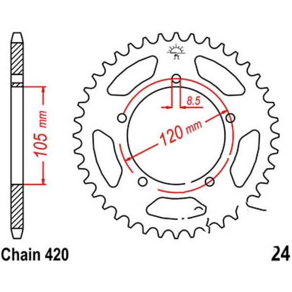 Rear sprocket 50tooth pitch 420 JTR2450