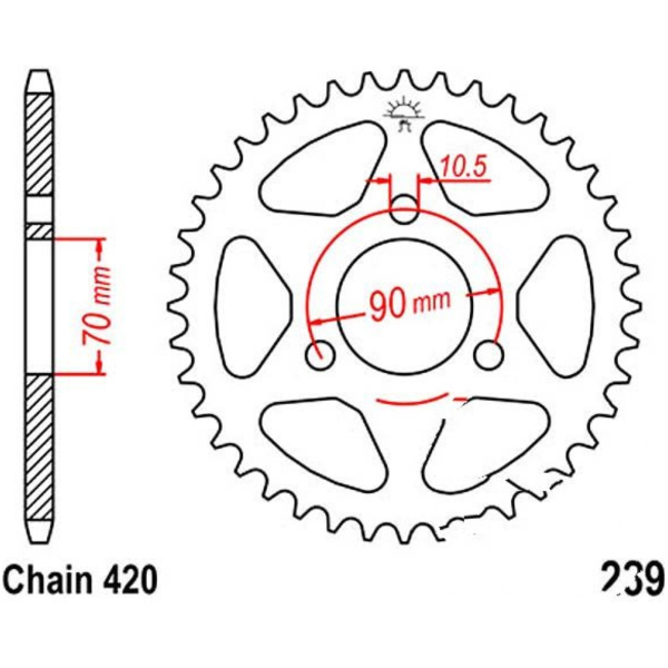 Rear sprocket 36tooth pitch 420 JTR23936