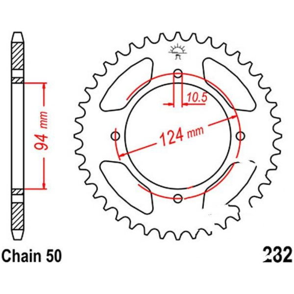 Rear sprocket 36 tooth pitch 530 silver