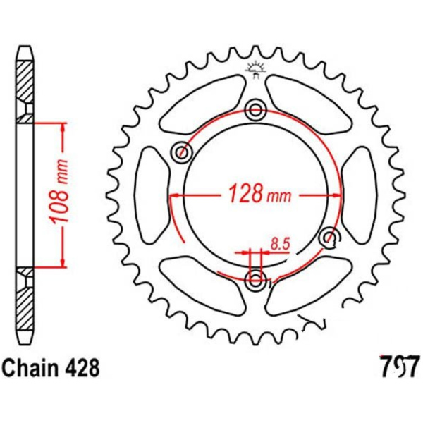 Rear sprocket 51tooth pitch 428 JTR79751