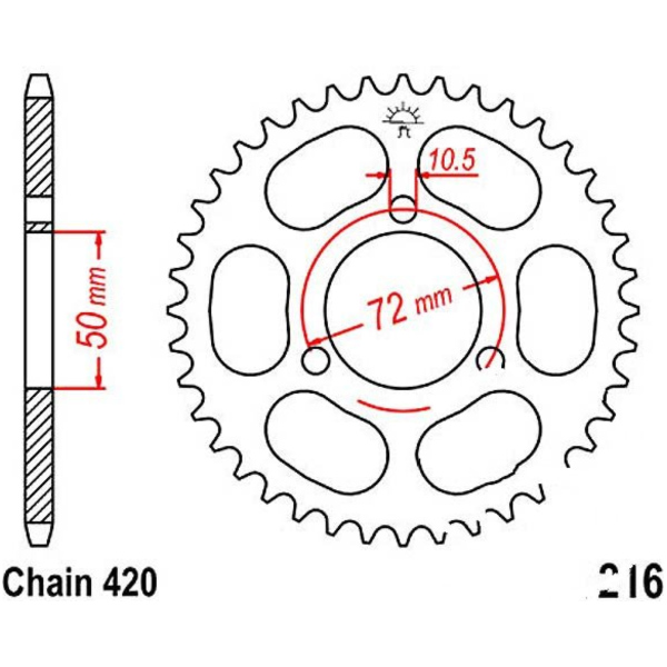 Rear sprocket 36tooth pitch 420 JTR21636