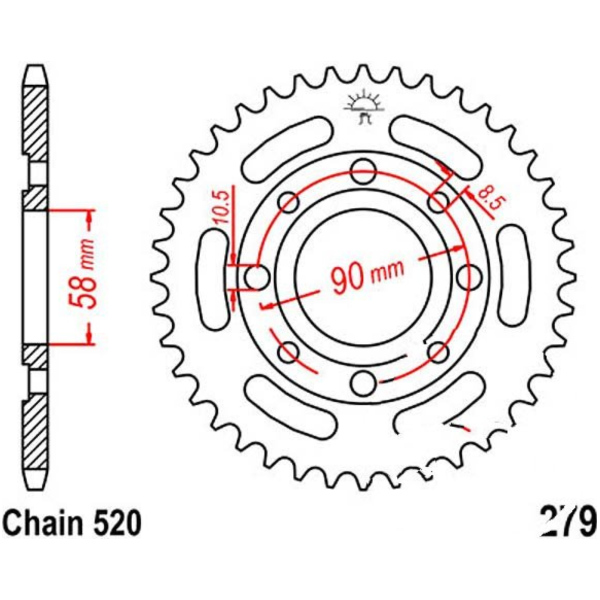 Rear sprocket 33t pitch 520 black