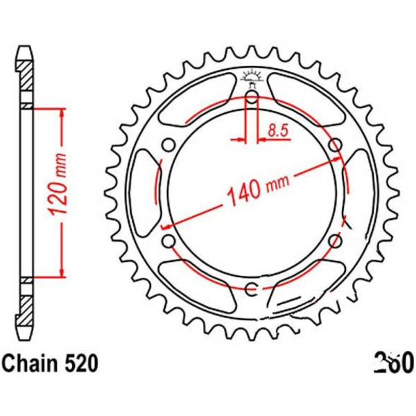 Rear sprocket 40tooth pitch 520 JTR26040