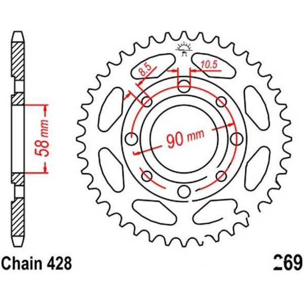 Rear sprocket 38tooth pitch 428 JTR26938