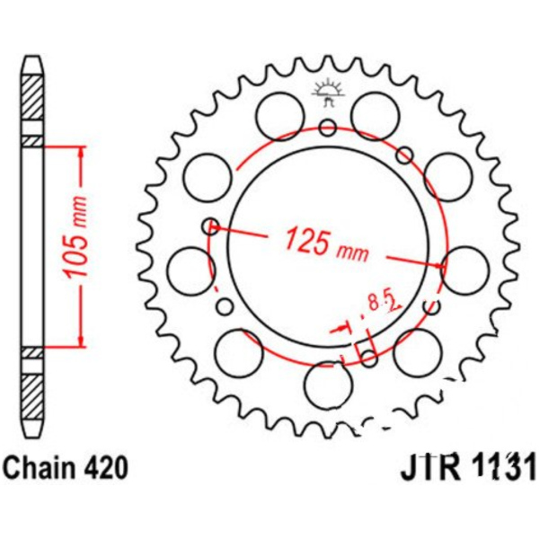 Rear sprocket 48 tooth pitch 420 JTR113148