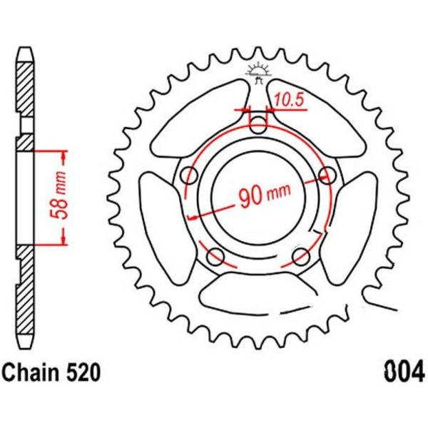Rear sprocket 44tooth pitch 520 JTR60444