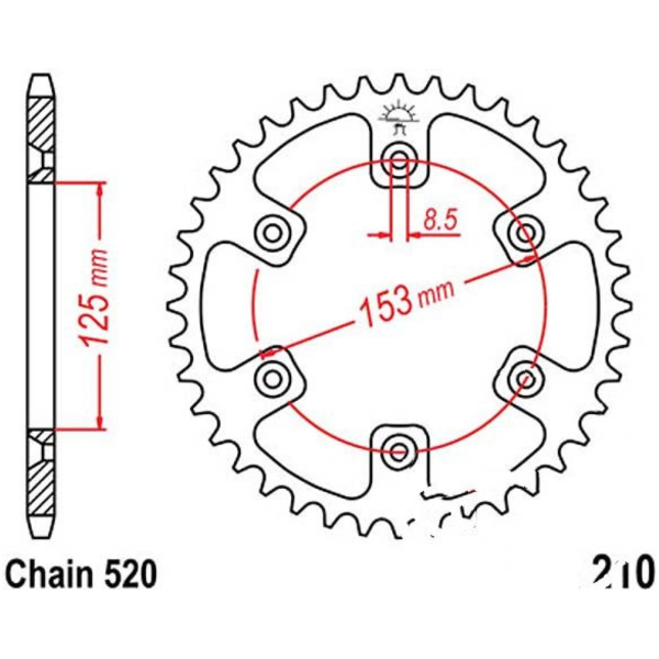 Rear sprocket 38t 520 black