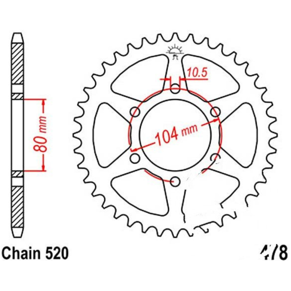 Rear sprocket 42tooth pitch 520 JTR47842