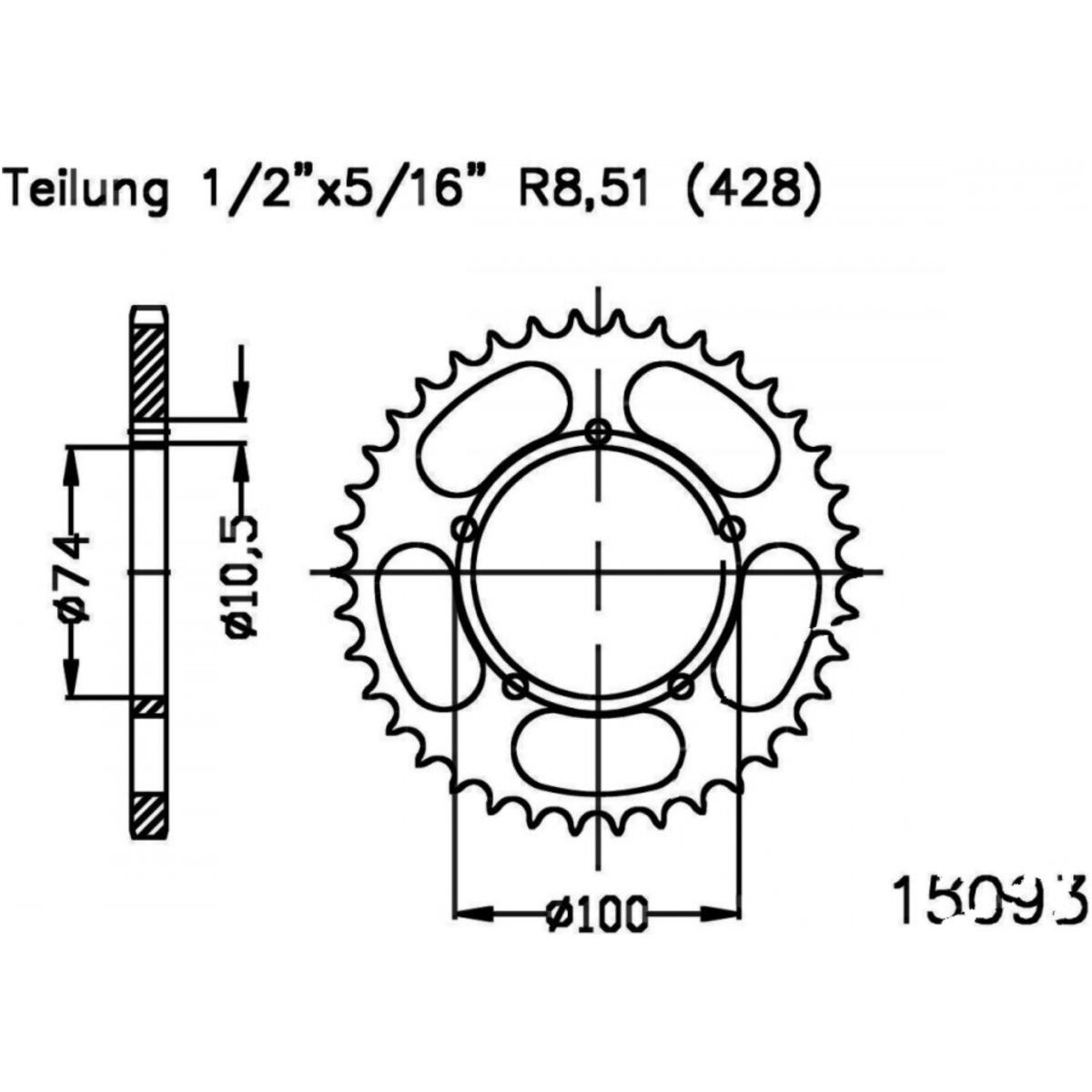 Esjot Stahl-Kettenrad 48Z 428