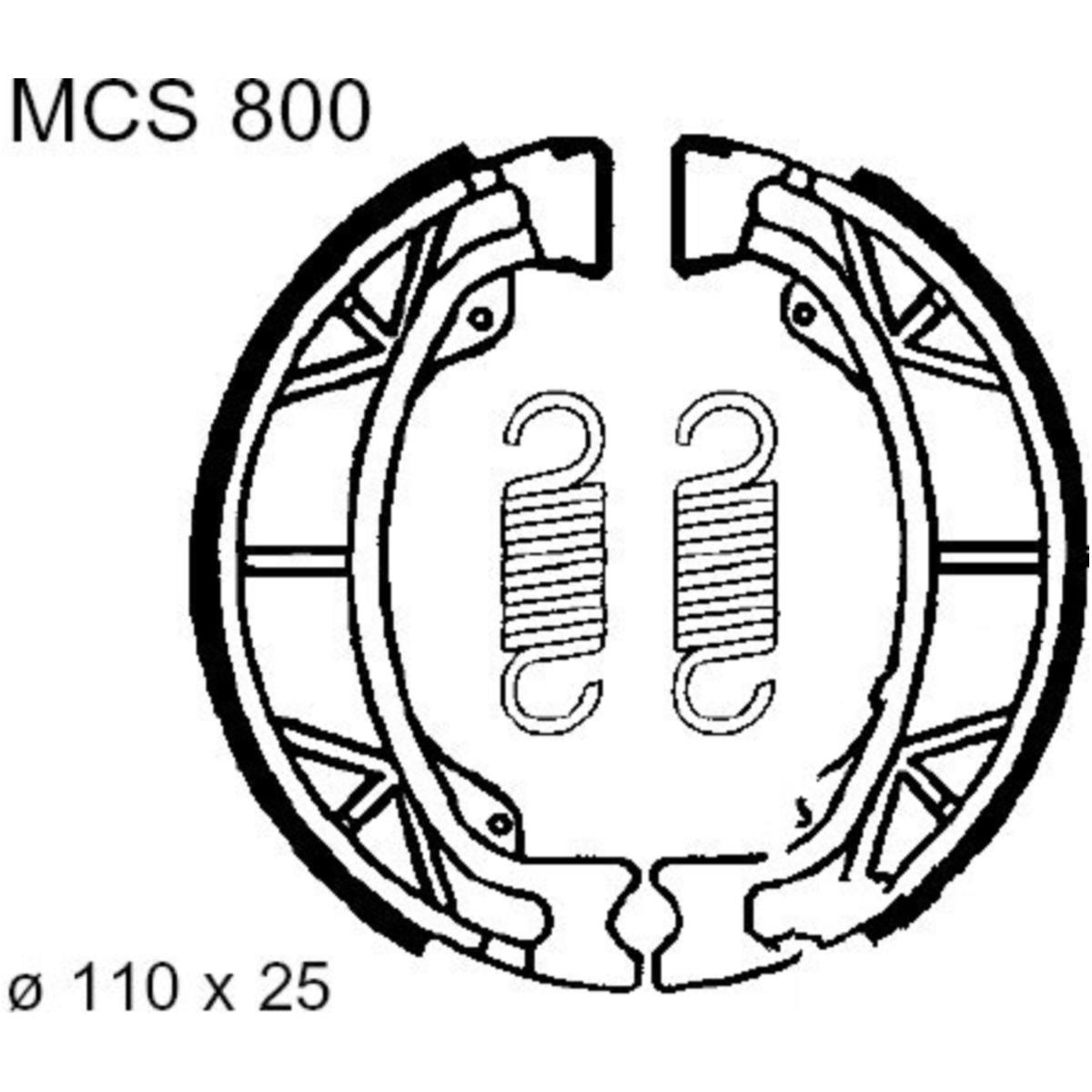 Brake shoes inc springs trw MCS800 für Peugeot Buxy 50 VGA 427 1996-1997, 3  PS, 2,2 kw