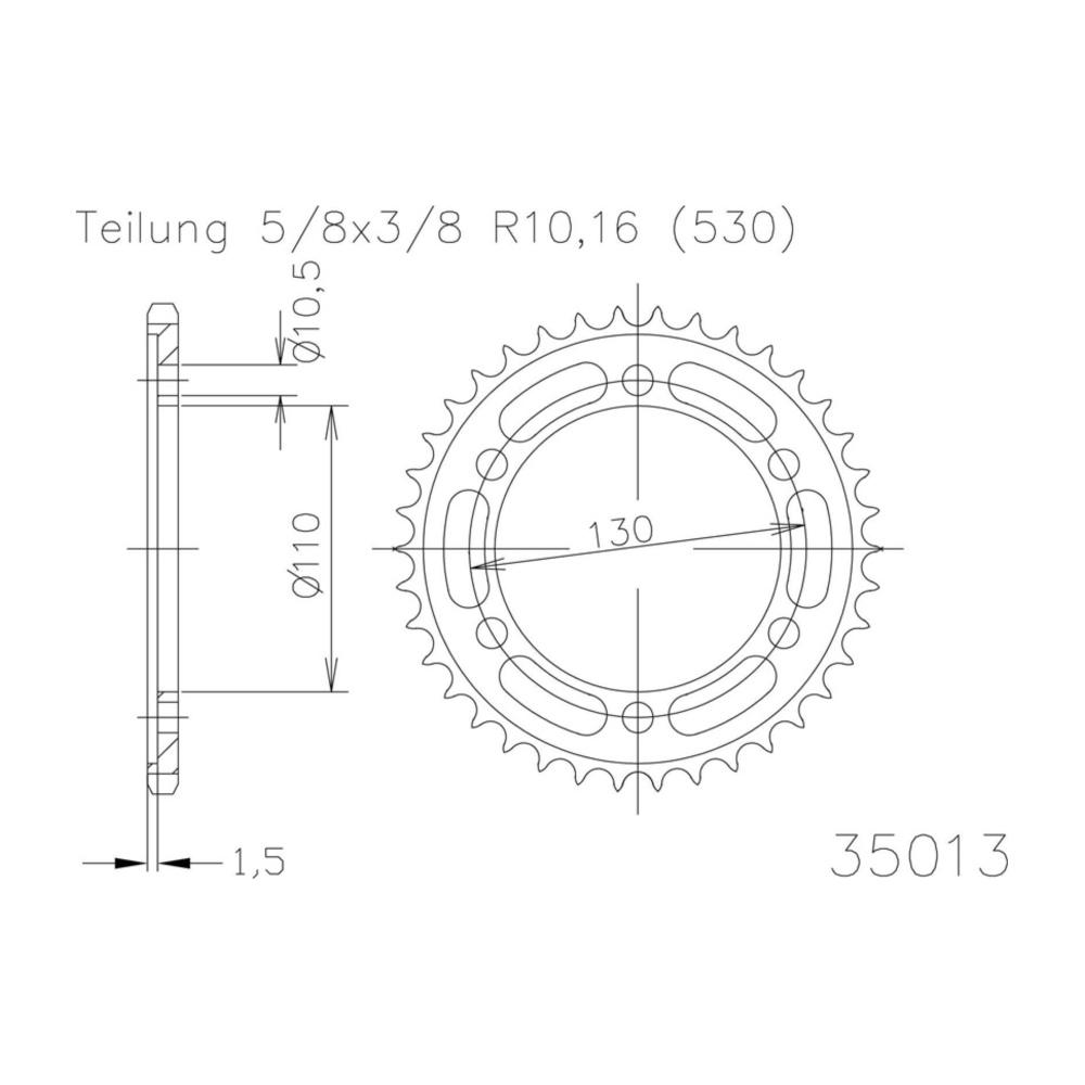f/ür Yamaha FZ 6 S Fazer 2007-2010 5//8x3//8 Kettenrad 44 Z/ähne Stahl 530er Teilung