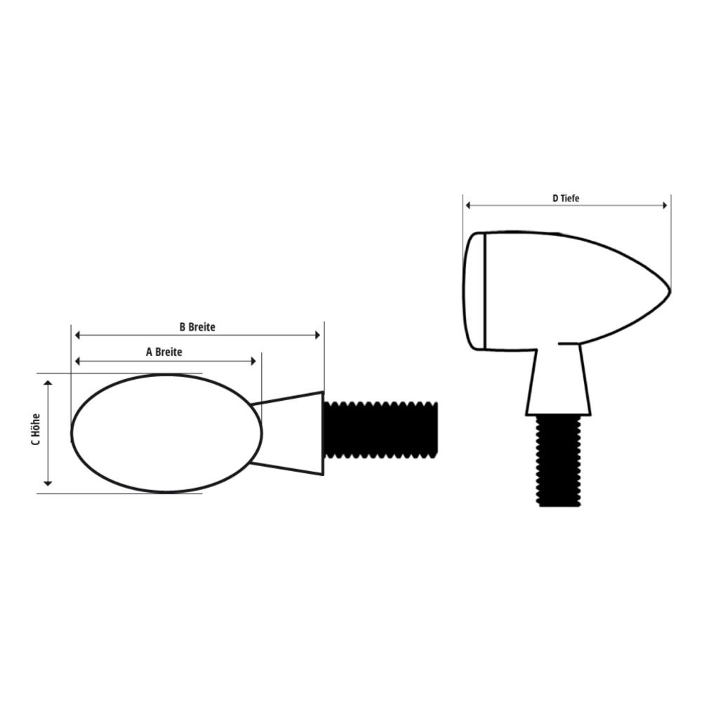 Cateye Motorrad Paar schwarz Glas getönt E-geprüft 203-427 Mini-Blinker