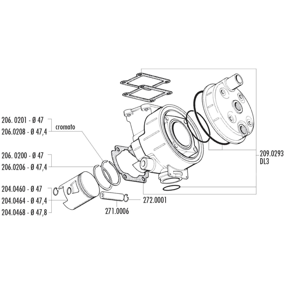 Piston Kit Polini Sport 70cc 478mm For Benelli Devil Spring Engine Diagram Malaguti Mrx Minarelli Dl3 50 2040468
