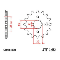 Front sprocket 13 tooth 520 JTF135213 für Adly/Herchee Sport Interceptor 300  2012