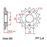 Front sprocket 16tooth pitch 525 JTF31416