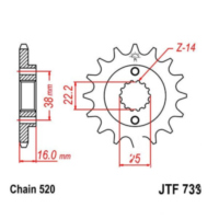 Front sprocket 15tooth pitch 520 JTF73615 für Ducati Supersport Carenata 600 600S 1994