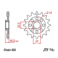 Front sprocket 14tooth pitch 525 JTF74114 für Ducati 749 Biposto 749 H500AA 2003