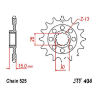 Front sprocket 17tooth pitch 525 JTF40417 für BMW S ABS 1000 K10/K46 2014