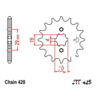Front sprocket 15tooth pitch 428 JTF42515