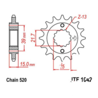 Front sprocket 14tooth pitch 520 JTF104214