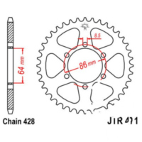 REAR SPROCKET 45 TOOTH PITCH 428 JTR47145