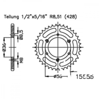Rear sprocket 32tooth pitch 428 black