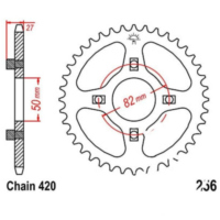 Rear sprocket 43 tooth pitch 420