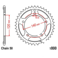 Rear sprocket 42 tooth pitch 530 JTR180042