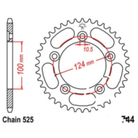 Rear sprocket 38 tooth pitch 525 JTR74438 für Ducati 999 Biposto/Monoposto 999 H401AA 2006