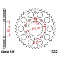 Rear sprocket 37 tooth pitch 525 JTR133237