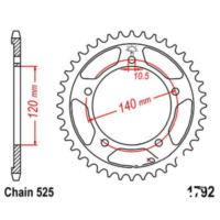 Rear sprocket 45 tooth pitch 525 JTR179245 für Triumph Bonneville T100 865 SMTTJ9157G 2008