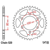 Rear sprocket 38 tooth pitch 520 JTR147838