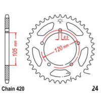 Rear sprocket 51 tooth pitch 420 JTR2451 für KSR-Moto TR Competition 50  2016