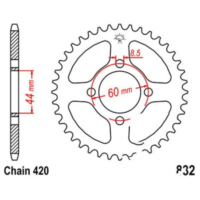 Rear sprocket 37tooth pitch 420 JTR83237