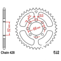 Rear sprocket 47 tooth 428 black JTR80247
