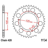 Rear sprocket 48 tooth pitch 428 JTR113448 für HM-Moto/Vent-Moto Derapage  50 50XACMF 2009
