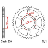 Rear sprocket 32 tooth pitch 630
