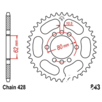 Rear sprocket 53 tooth pitch 428 JTR84353
