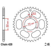 Rear sprocket 41 tooth pitch 420 black