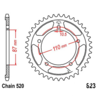 Rear sprocket 49tooth pitch 520