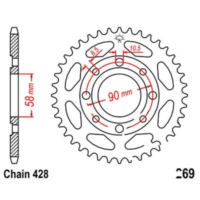 Rear sprocket 37 tooth 428 black JTR26937