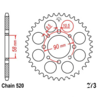 Rear sprocket 45 tooth pitch 520 black JTR27345