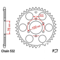 Rear sprocket 52 tooth pitch 532